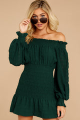 6 Heart In Havana Dark Green Off The Shoulder Dress at reddressboutique.com