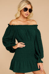 1 Heart In Havana Dark Green Off The Shoulder Dress at reddressboutique.com