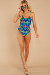 2 Beyond The Shore Blue Multi Print One Piece at reddress.com