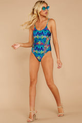 3 Beyond The Shore Blue Multi Print One Piece at reddressboutique.com
