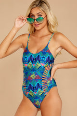 5 Beyond The Shore Blue Multi Print One Piece at reddressboutique.com