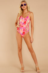 3 Beyond The Shore Pink Tropical Print One Piece at reddressboutique.com