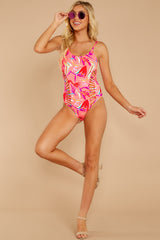 4 Beyond The Shore Pink Tropical Print One Piece at reddressboutique.com