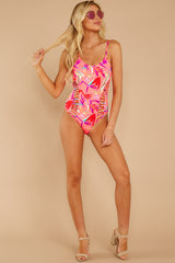 5 Beyond The Shore Pink Tropical Print One Piece at reddressboutique.com