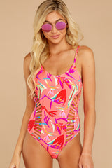 1 Beyond The Shore Pink Tropical Print One Piece at reddressboutique.com