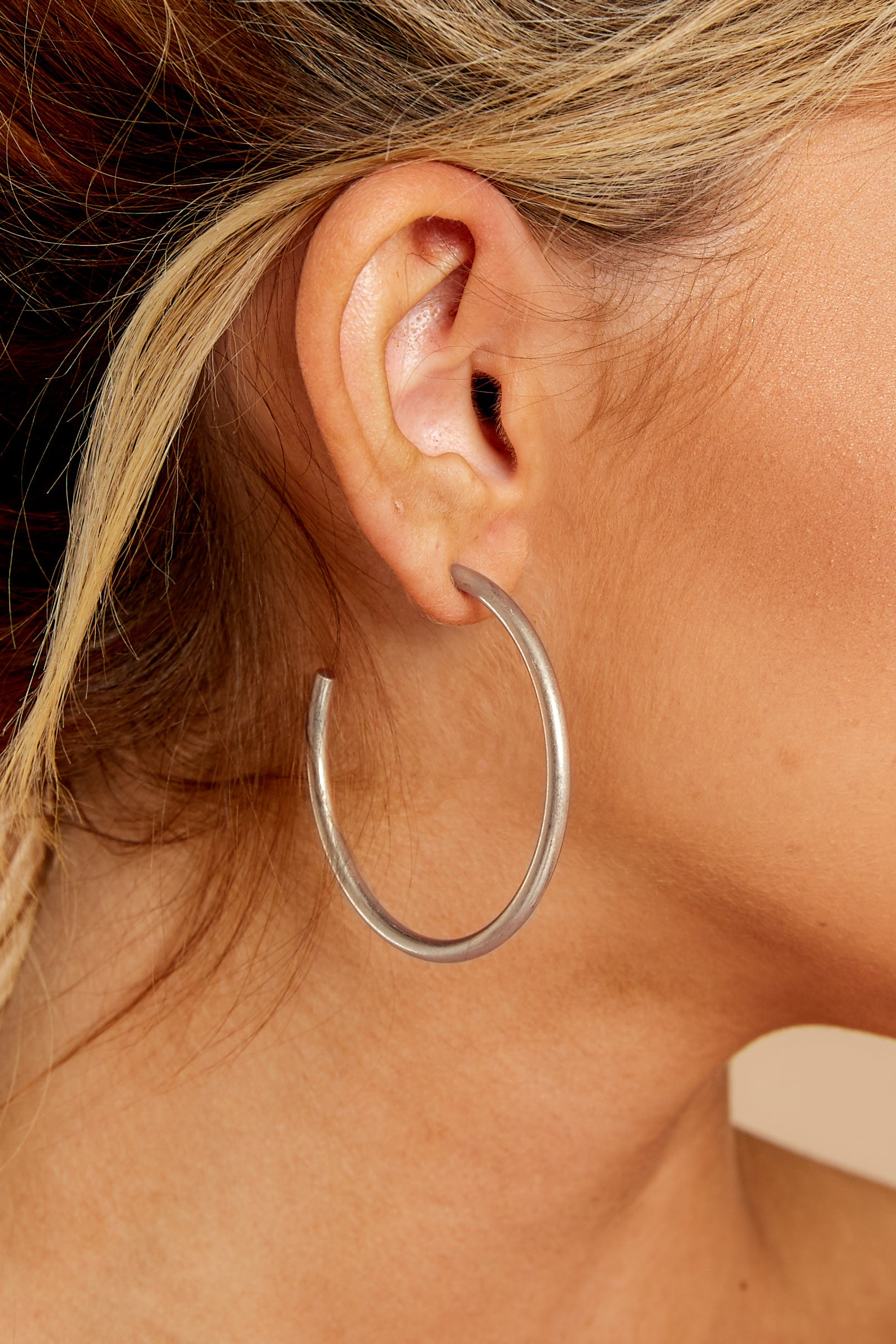 1 Classic Moments Silver Hoop Earrings at reddressboutique.com