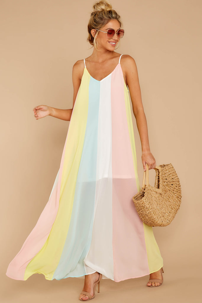 8 Waking Up There Pink Multi Stripe Maxi Dress at reddressboutique.com