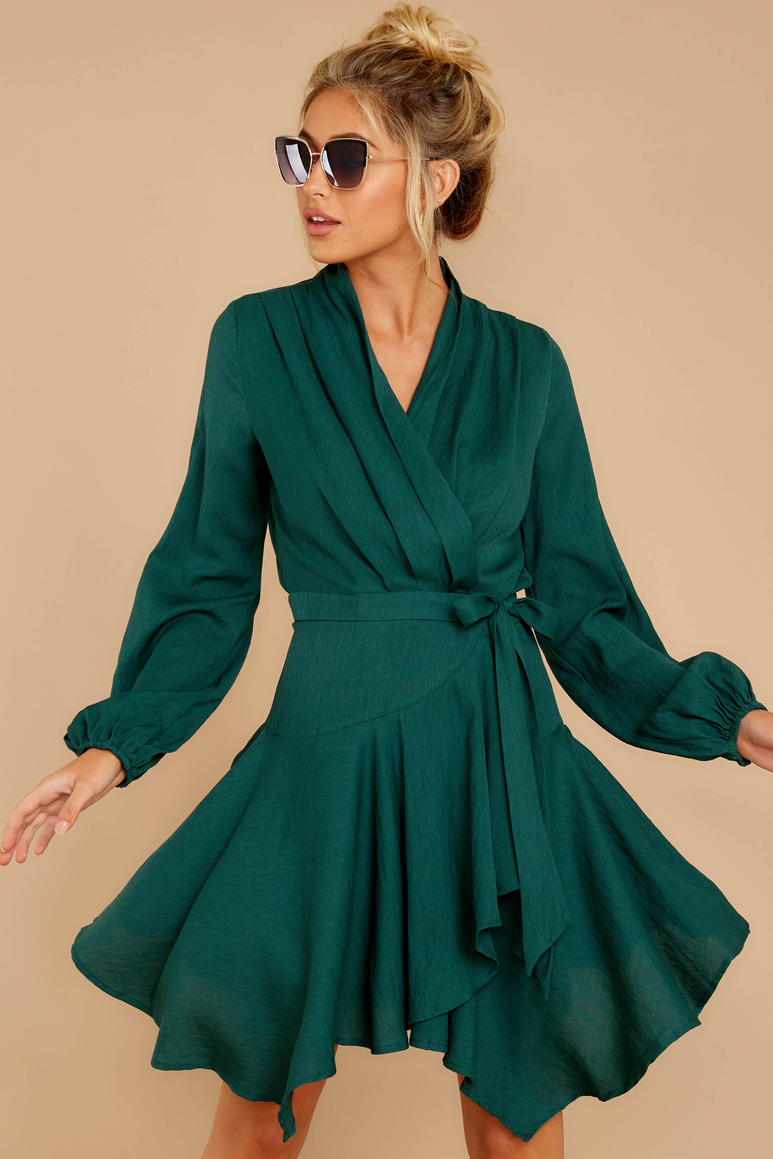 3 Scheduled Perfection Evergreen Wrap Dress at reddressboutique.com