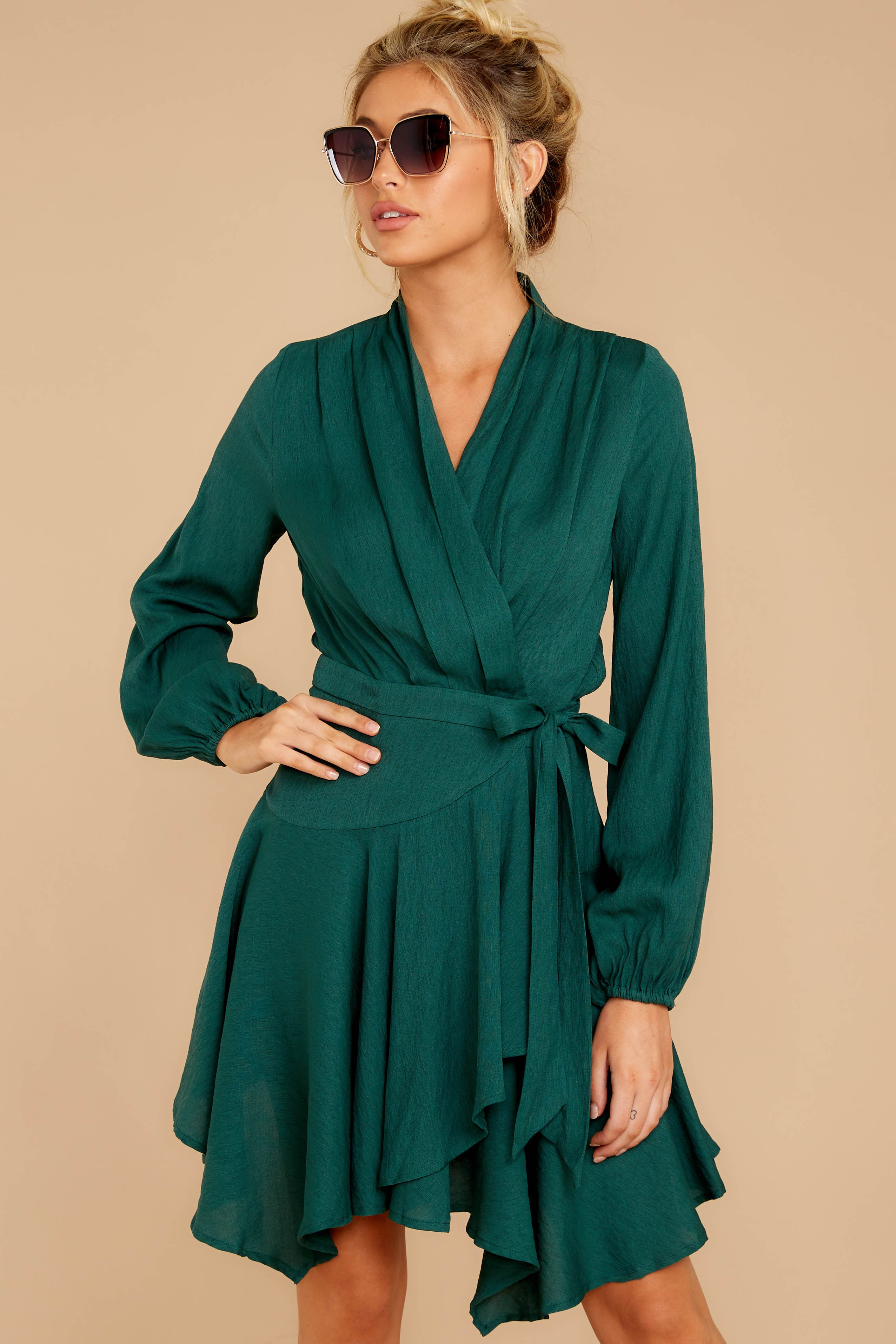 5 Scheduled Perfection Evergreen Wrap Dress at reddressboutique.com