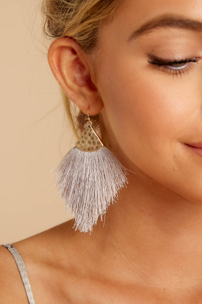 1 Brush With Fate Ash Grey Earrings at reddressboutique.com