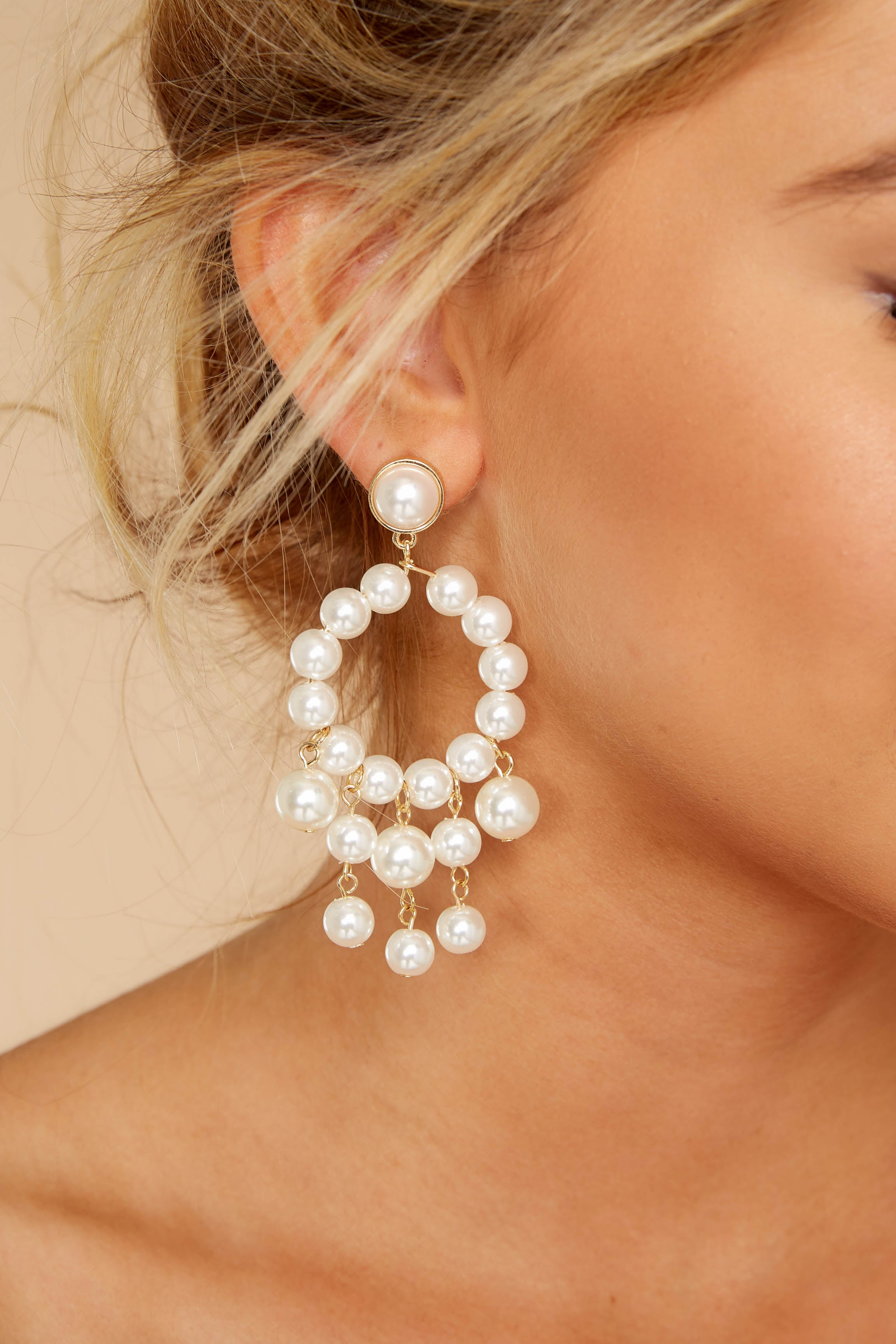 1 For The Glamorous Pearl Beaded Earrings at reddressboutique.com