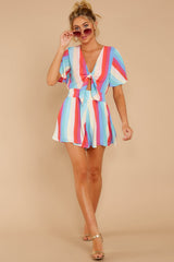2 Think We Oughta Pastel Rainbow Stripe Romper at reddressboutique.com