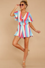 4 Think We Oughta Pastel Rainbow Stripe Romper at reddressboutique.com