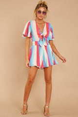 3 Think We Oughta Pastel Rainbow Stripe Romper at reddressboutique.com