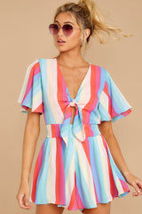 1 Think We Oughta Pastel Rainbow Stripe Romper at reddressboutique.com