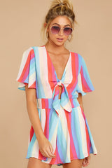 5 Think We Oughta Pastel Rainbow Stripe Romper at reddressboutique.com