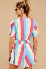 7 Think We Oughta Pastel Rainbow Stripe Romper at reddressboutique.com