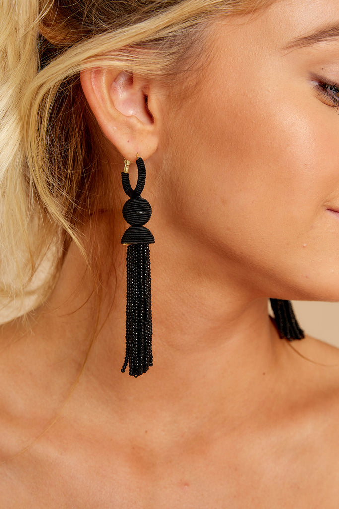 1 Fighting Silence Hot Pink Beaded Tassel Earrings at reddressboutique.com