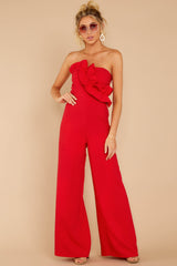 2 Good Landing Red Jumpsuit at reddressboutique.com