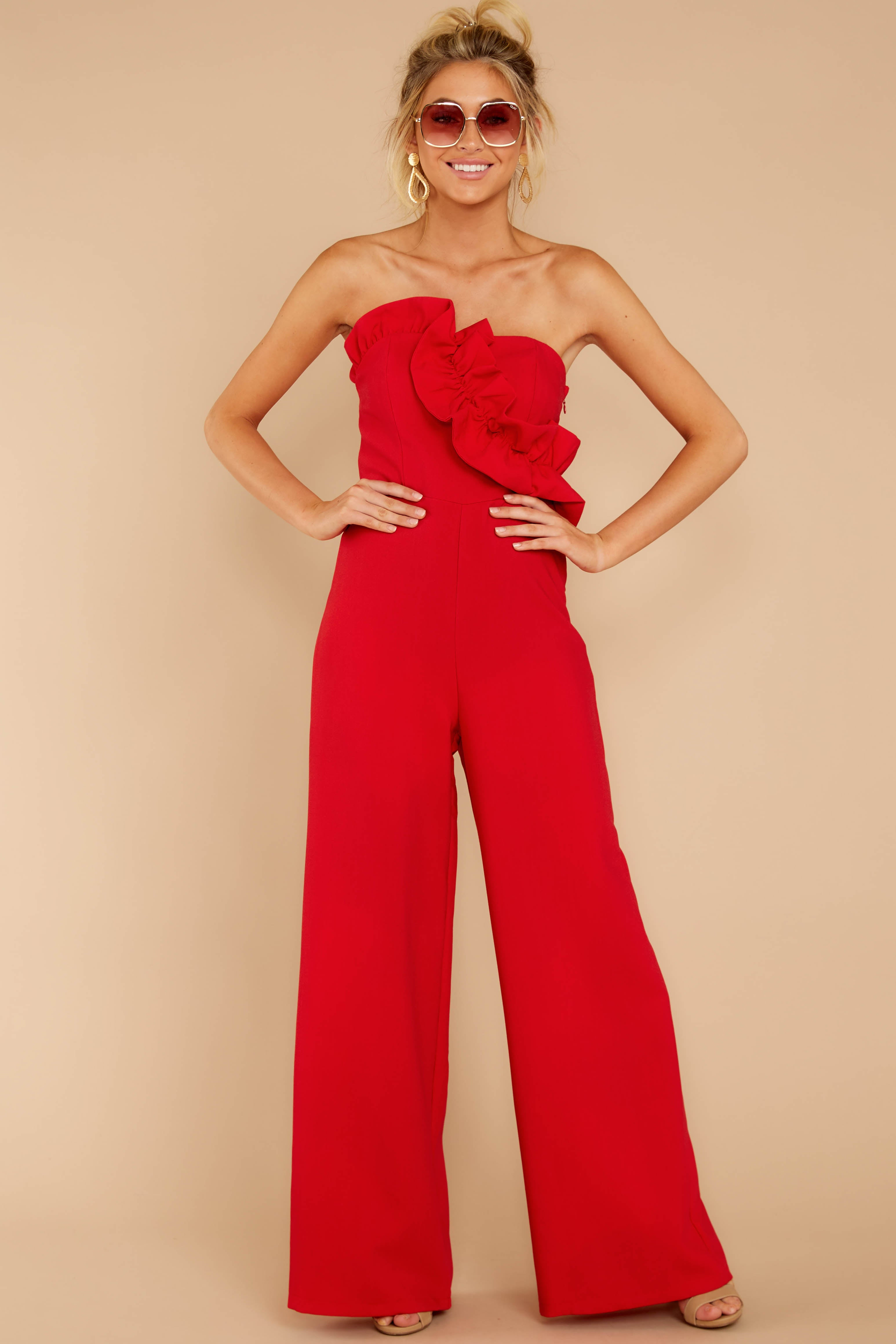 4 Good Landing Red Jumpsuit at reddressboutique.com