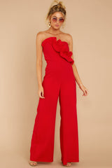 5 Good Landing Red Jumpsuit at reddressboutique.com