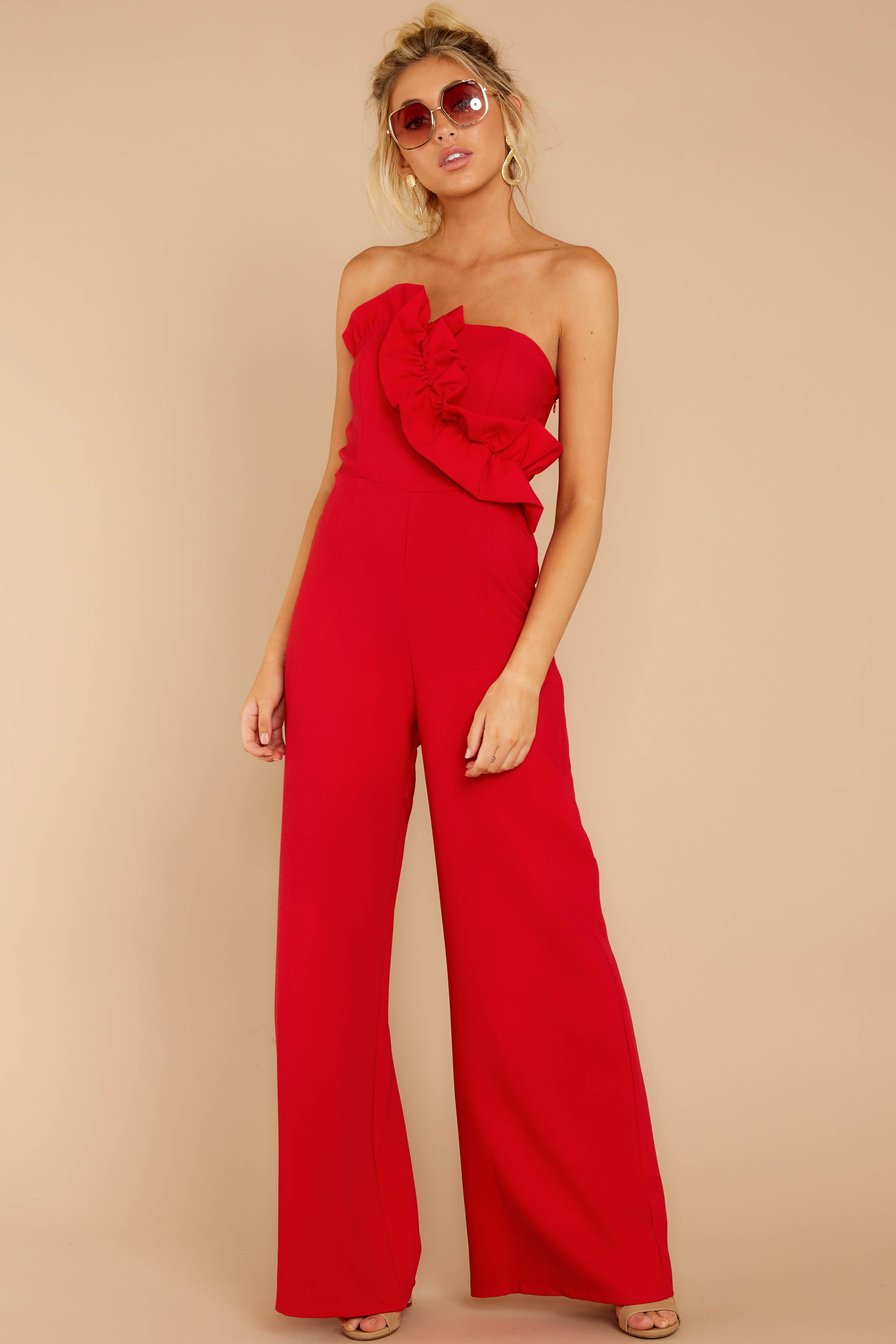3 Good Landing Red Jumpsuit at reddressboutique.com