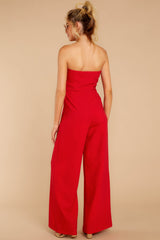 6 Good Landing Red Jumpsuit at reddressboutique.com