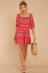 2 Here For La Fiesta Red Multi Print Dress at reddressboutique.com