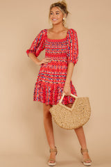 3 Here For La Fiesta Red Multi Print Dress at reddressboutique.com