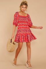 1 Here For La Fiesta Red Multi Print Dress at reddressboutique.com