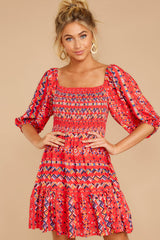 4 Here For La Fiesta Red Multi Print Dress at reddressboutique.com