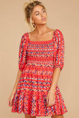 5 Here For La Fiesta Red Multi Print Dress at reddressboutique.com