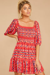 6 Here For La Fiesta Red Multi Print Dress at reddressboutique.com