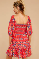7 Here For La Fiesta Red Multi Print Dress at reddressboutique.com