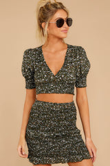 Been Waiting On You Dark Green Floral Print Two Piece Set