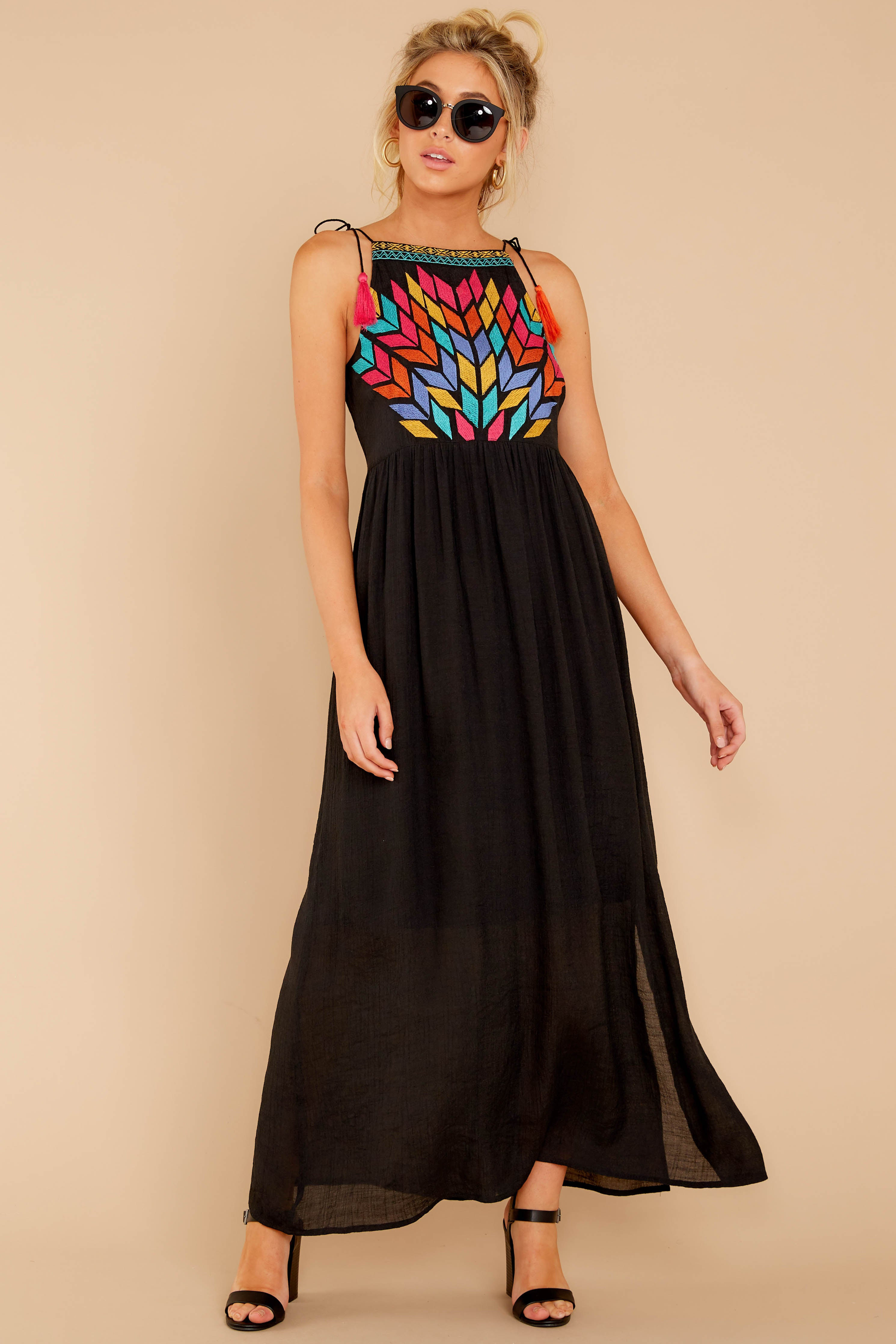 3 Kaleidoscope View Black Embroidered Maxi Dress at reddressboutique.com