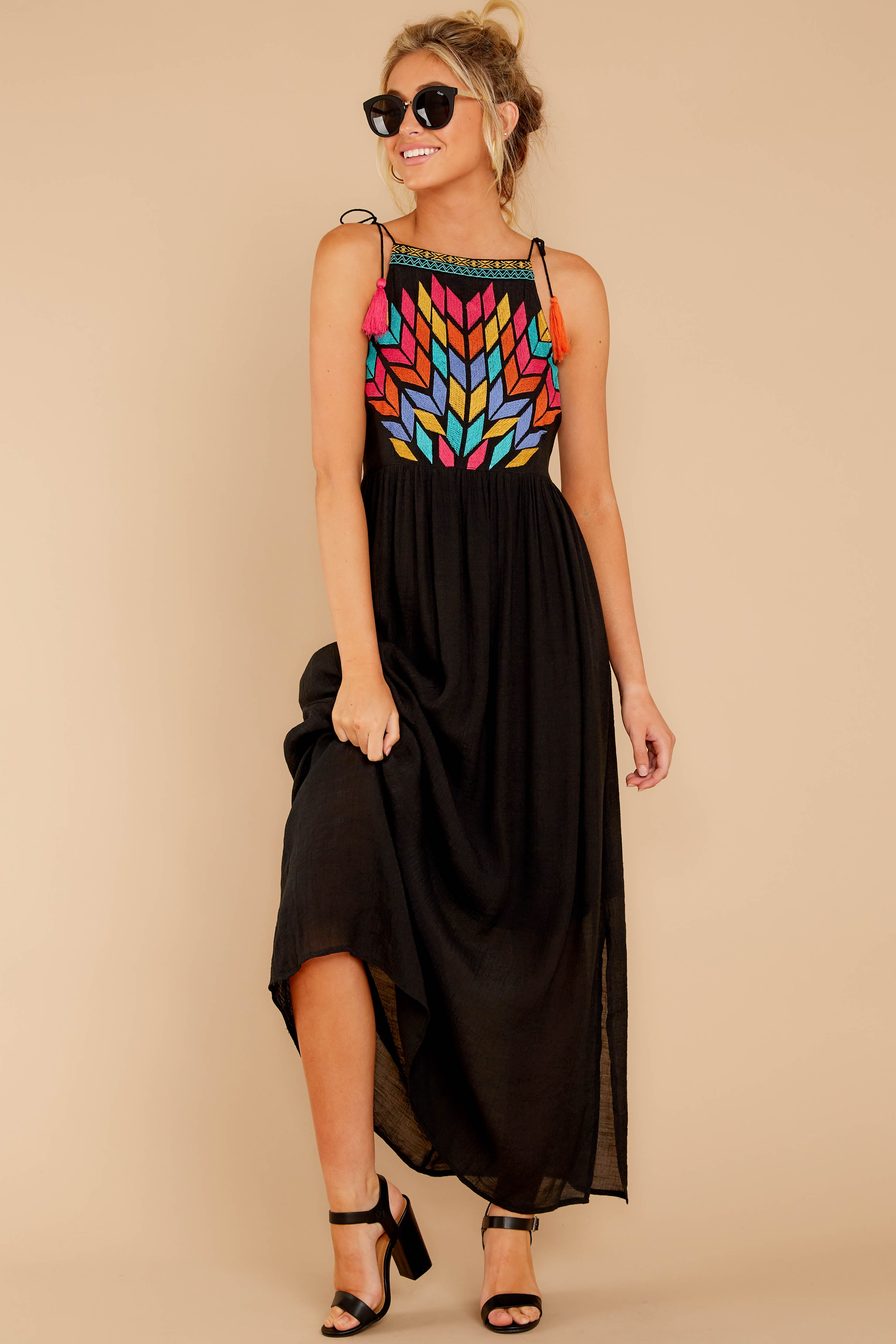 2 Kaleidoscope View Black Embroidered Maxi Dress at reddressboutique.com