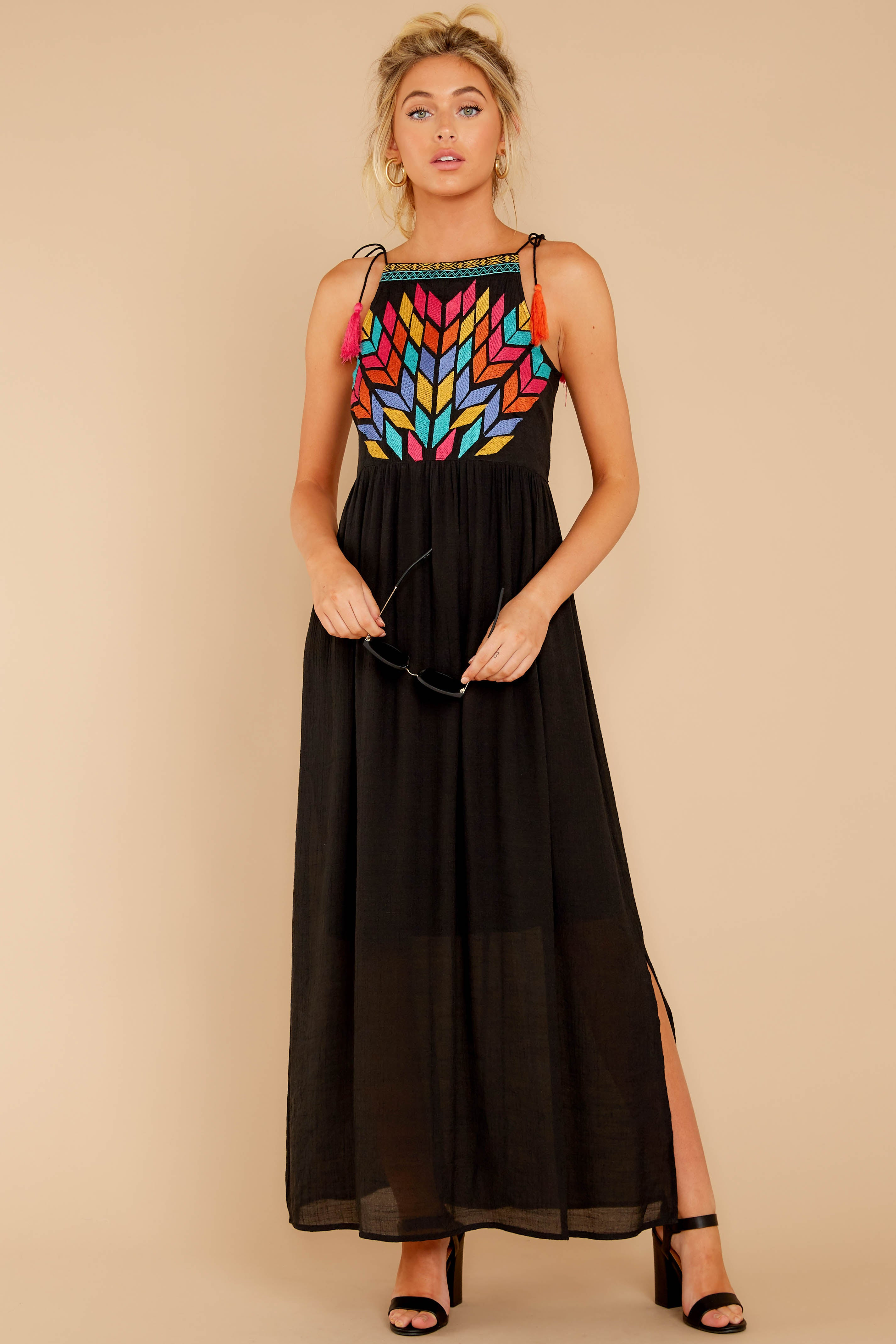 5 Kaleidoscope View Black Embroidered Maxi Dress at reddressboutique.com