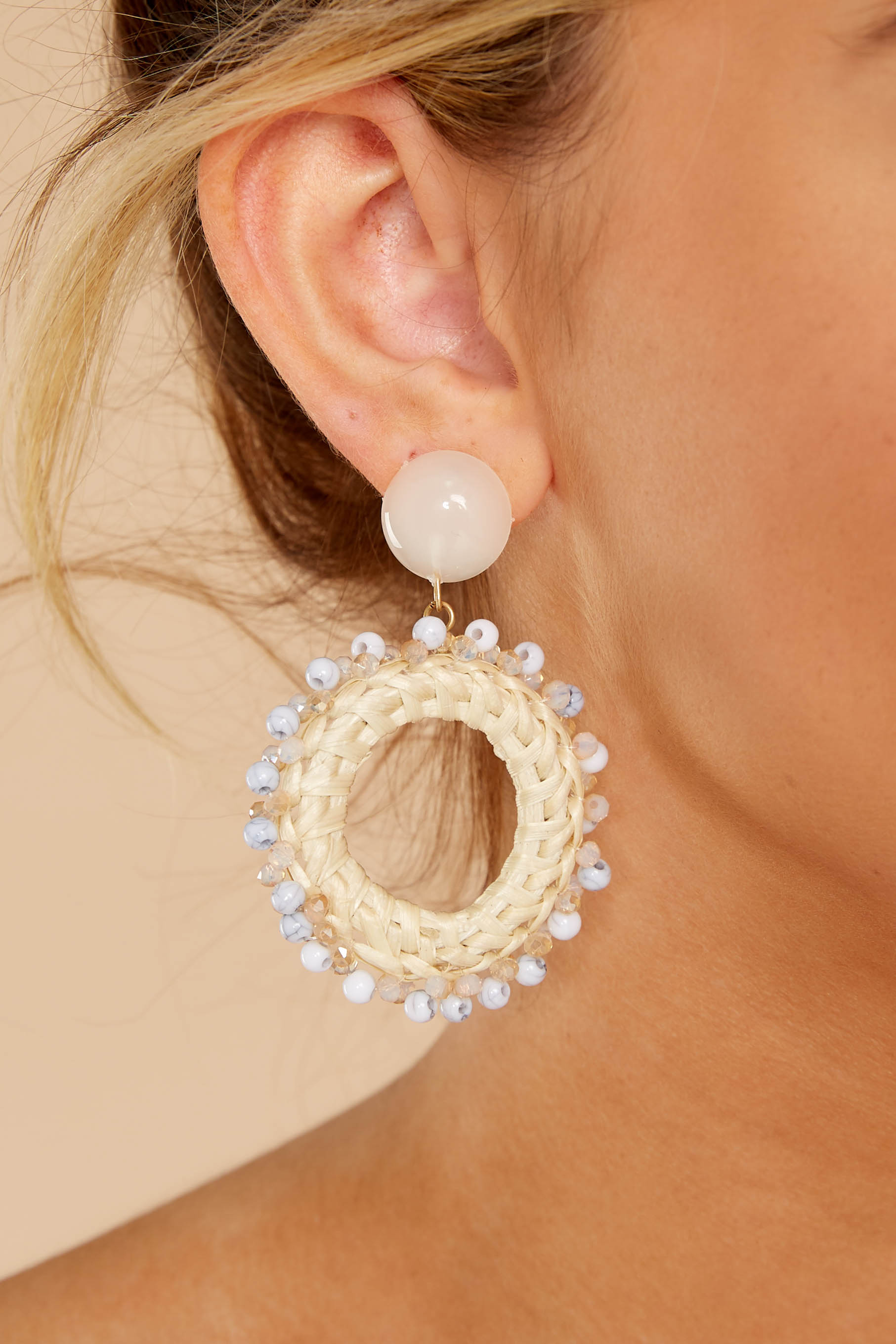 1 By The Moon's Light Off White Earrings at reddressboutique.com