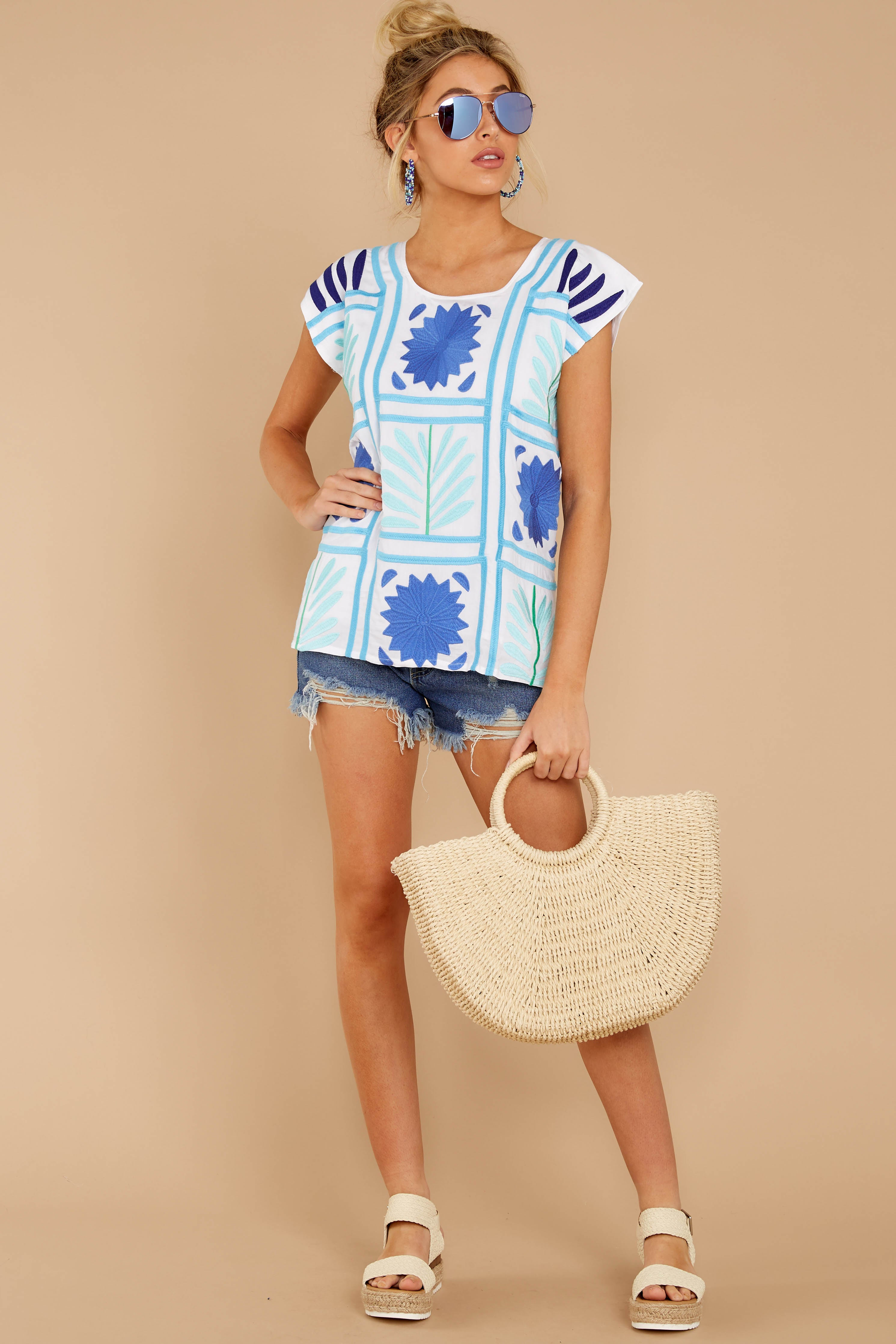 3 Worth Gushing Over White Embroidered Top at reddressboutique.com