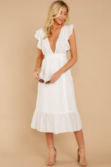 3 Silvery Seas White Eyelet Midi Wrap Dress at reddressboutique.com
