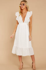 4 Silvery Seas White Eyelet Midi Wrap Dress at reddressboutique.com