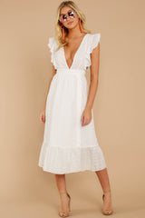 5 Silvery Seas White Eyelet Midi Wrap Dress at reddressboutique.com