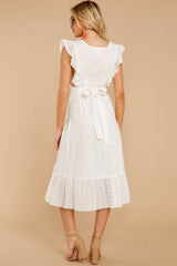 6 Silvery Seas White Eyelet Midi Wrap Dress at reddressboutique.com