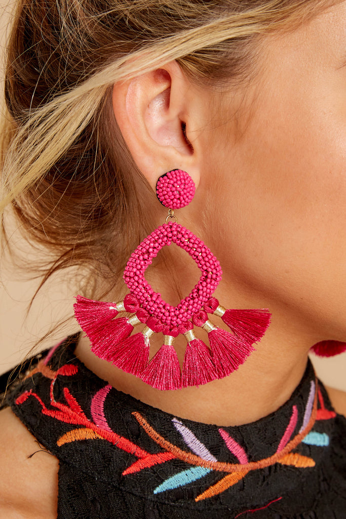 1 Decision Time Dark Fuchsia Statement Earrings at reddressboutique.com