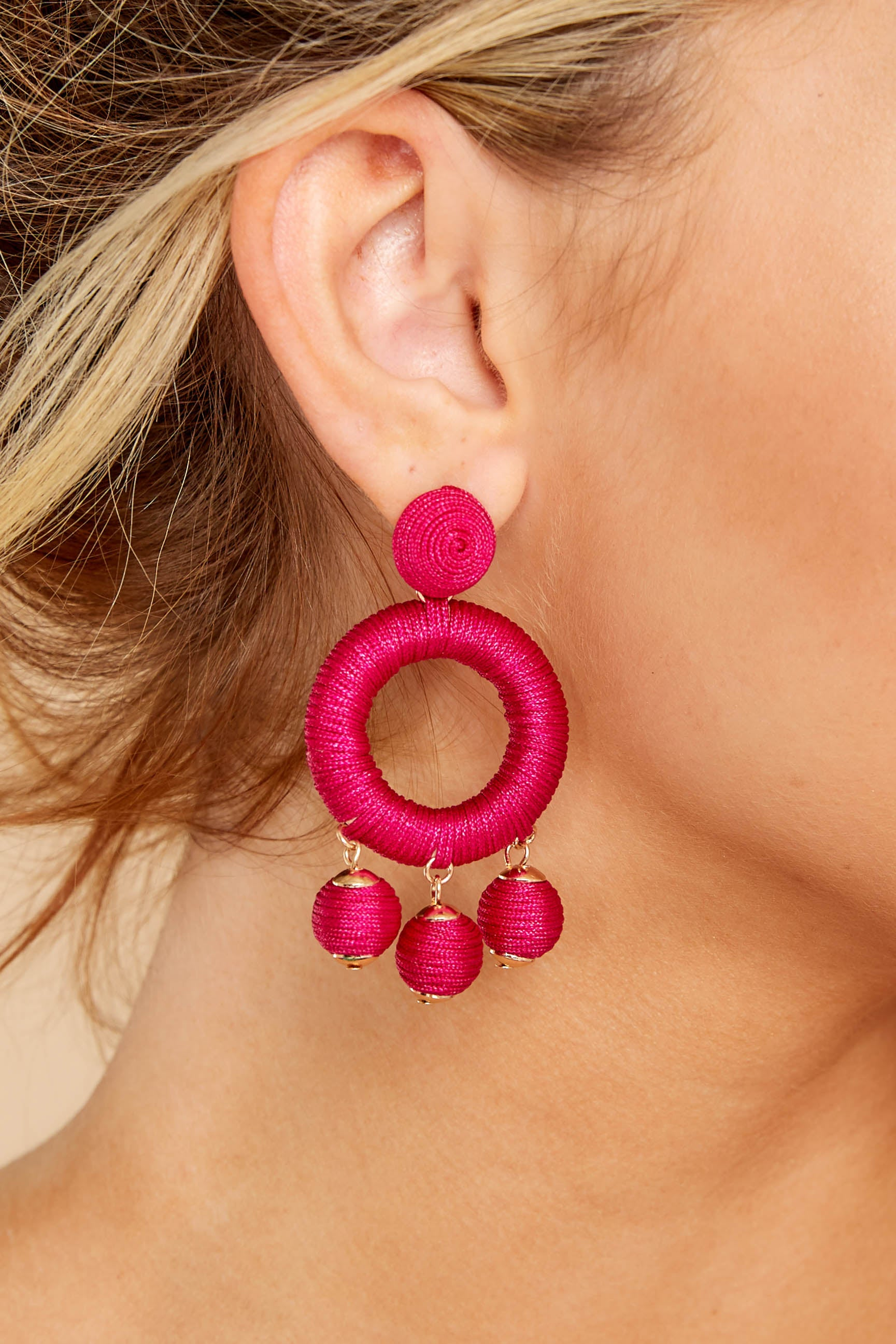 1 Around This Time Fuchsia Pink Earrings at reddressboutique.com