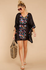 2 Flock To Paradise Black Embroidered Cover Up at reddressboutique.com