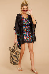 1 Flock To Paradise Black Embroidered Cover Up at reddressboutique.com
