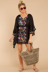 3 Flock To Paradise Black Embroidered Cover Up at reddressboutique.com