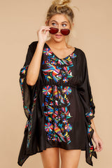 4 Flock To Paradise Black Embroidered Cover Up at reddressboutique.com
